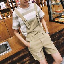 New Fashion Stylish Mens Pocket Overalls Cotton Slim Short Pants Jumpsuit Shorts