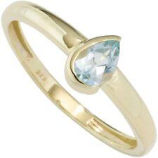 Ring Damenring mit Blautopas Topas hellblau, Tropfen, 333 Gold Gelbgold Goldring