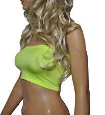 Boob Tube UV NEON Flo Yellow Strapless Womens Bandeau Vest Ladies Top Party B6