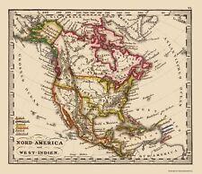 Old North America Map - North America, West Indies - Stieler 1852 - 23 x 26.65