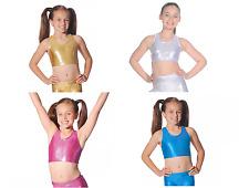 Roch Valley Crop Top Shiny Metallic Nylon Lycra Dance Gymnastics Freestyle