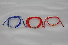 Evil Eye Cord String Bracelet With Rhinestones Adjustable Red or Blue Feng Shui