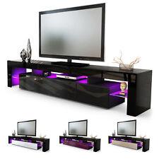 TV Stand Unit Board Lowboard Cabinet Lima V2 Black - High Gloss & Natural Tones