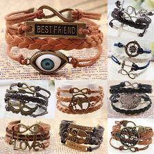 Pulsera de cuero-Bracelet Leather-pulsera-Infinity vintage amistad pulsera