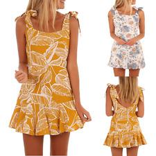 abito vestito estivo corto da donna stampa floreale schiena scoperta vestito cas
