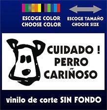 Sticker Vinilo - CUIDADO ! PERRO CARIÑOSO - PEGATINA - Vinyl - Mascota - Bulldog