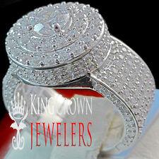 Mens Ladies 10K White Gold Silver Simu Diamond 3D Lollipop Round Pinky Ring 2CT