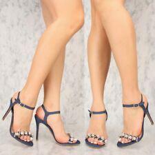 4 inches Denim Open Toe Sequin Pom Pom Stiletto High Heel Platform Sandals H202
