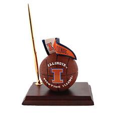 Illinois Fighting Illini Mascot Desk Set Pen Clock Basketball License College