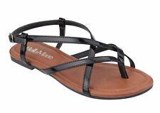 Women fashion  classic flats stripe sandals shoes gladiator  black silver
