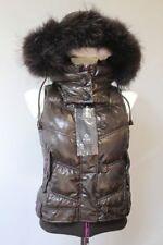 F32 ITALY QUALITY Raccoon Fur DOWN VEST HOODED GILET COAT Pelliccia BROWN SML XL