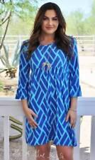 PLUS SIZE BLUE SILKY BOHO BABYDOLL 3/4 DRESS POCKETS MADE IN USA 1X 2X 3X TRUE