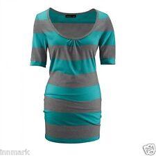 735 Melrose Rundhalsausschnitt Baumwolle Kurzarm Shirt Gestreift Long Top Größe S UK 8