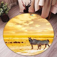 3D Dusk Prairie Zebra 97 Non Slip Rug Mat Room Mat Round Elegant Photo Carpet CA