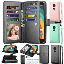 For Motorola Moto E5 Plus / E5 Supra Leather Wallet Card Holder Flip Stand Case