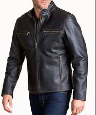 Mens Black Real Leather Jacket Cafe Racer Distressed Biker Motorcycle Vintage