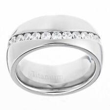 9mm Titanium Dome Shiny Top Round Cubic Zirconia Eternity Men's Wedding Ring