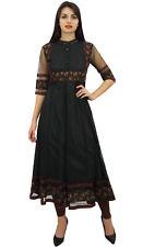 longue tunique noire Anarkali nette Phagun kurta ethnique Kurti robe chemisier