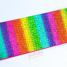 "Holographic Rainbow Sparkles Metallic Foil Printed Grosgrain Ribbon 75mm 3"""