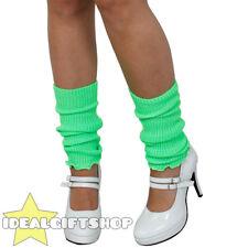 Green Damas década de 1980 calentadores adultos Discoteca Fancy Dress Polainas Tutu