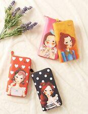 [FASCY] TINA Women Long Wallet 100 x 193 x 25mm 4 Type Pink Black Orange Yellow