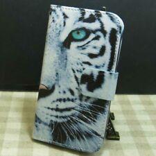 1x Blanc Tigre Housse Etui Coque Wallet Flip case cover pour Divers téléphone