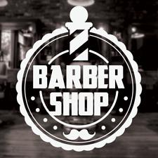 Barber Sign, Barber shop window decal, Circular Barber Pole Shop Window Sign