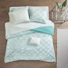 Beautiful Modern Chic Light Aqua Blue Silver White Soft Comforter Set & Sheets