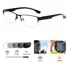 Mens Transition Photochromic Half Frame Brushed Metal Alloy Nerd Reading Glasses