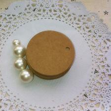 50 Round Circle Kraft Paper Wedding Party Card Price Label Tag Black White Brown