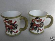 Coffee Mug x 2 Christmas Sparrow Bird Holly Berries Winter Samaco Base Labels