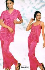 Womens Ladies Pyjama Suit Gown Satin Lyrca Nightwear Nighties London UK 3073