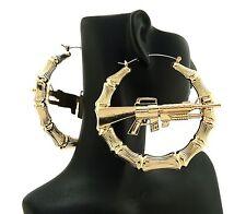 Celebrity Ghetto Style Machine Gun Bamboo Hoop Hollow Pincatch Fashion Earrings