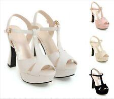 Women's Strappy Chunky Platform 11cm High Heel Sandal Shoes All Size 4-10.5 Club