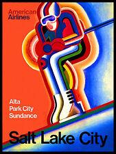 SALT LAKE CITY USA Vintage Art Deco Skiing/Travel Poster A1A2A3A4Sizes