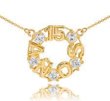 14K Oro Amarillo 15 Quinceaã ± Era Aã ± OS Piedras de Circonita Redondo Collar