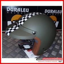 Duraleu Casco Moto Demi jet Street Vintage Verde milit Opaco Tre Bottoni Qualità