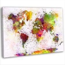 Mapa del mundo Abstracto Acuarela LONA pared arte Foto impresión enmarcado