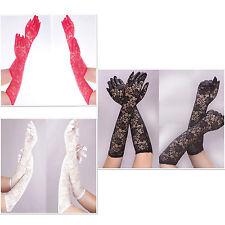 Handschuhe lang Spitze  Braut Hochzeit Abendmode Gala Gothic schwarz weiss rot