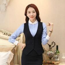korean Womens Business Formal Vest V-Neck Slim Waistcoat Sleeveless Coats