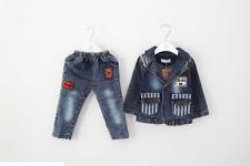 Niño Chico 2 Piezas Mono traje conjunto Chaqueta + Pantalones Vaqueros Talla 1-3 años