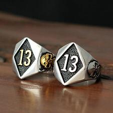 Men Women Lucky Number 13 Skull Gothic Biker Stainless Steel Ring Silver Gold