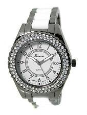 ladies gunmetal white ice out fashion dress watch metal acrylic link bracelet