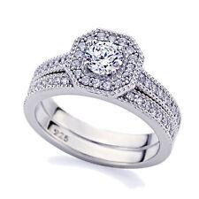 5mm Platinum Plated Silver 0.5ct CZ Vintage Wedding Engagement Ring Bridal Set