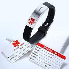 Adjustable Men Bracelet Medical Alert ID Silicone ICE Bangles Custom Engraving