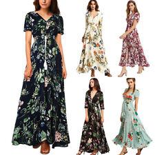 Womens Floral Long Maxi Dress Long Sleeve Evening Party Summer Beach Sundress#19