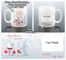 XMAS RABBITS PHOTO MUG Christmas Gift Her Him Grandad Nana Aunt Uncle Present