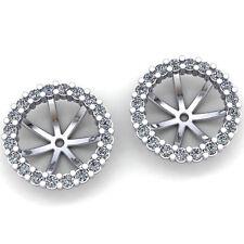 Genuine 0.75ctw Round Cut Diamond Ladies Fancy Round Jacket Earrings 10K Gold