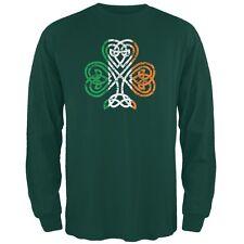 St. Patricks Day - Shamrock Knot Forest Green Adult Long Sleeve T-Shirt