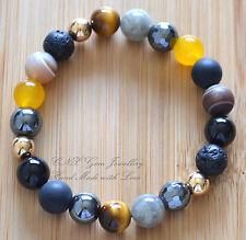 Gem Crystal Beads Chakra Bracelet Gold Moonstone Hematite Tiger Eye Agate Unisex